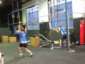 Overhead lunges will build strength and also promote mobility